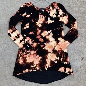 CUSTOM Reverse Bleach Tie Dye Mesh Tunic Top M